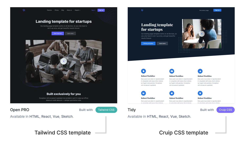 Cruip templates categories