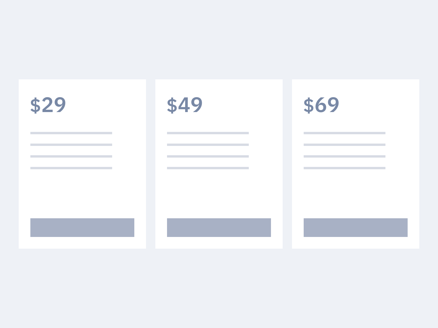 Pricing tabs section